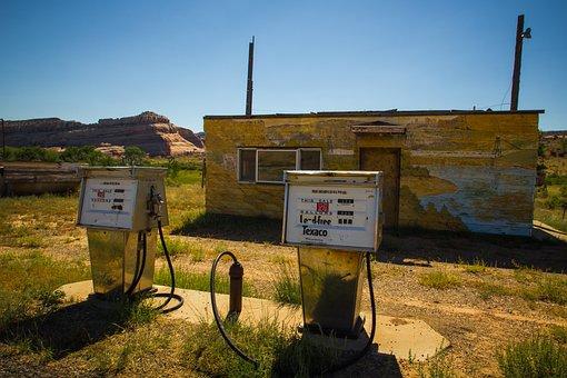 Gas Station, Gas, Fuel, Abandoned, Pumps, Gas Pumps