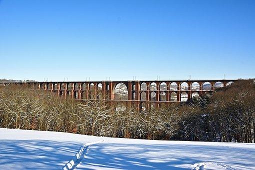 Bridge, Viaduct, Snow, Winter, Railway Bridge