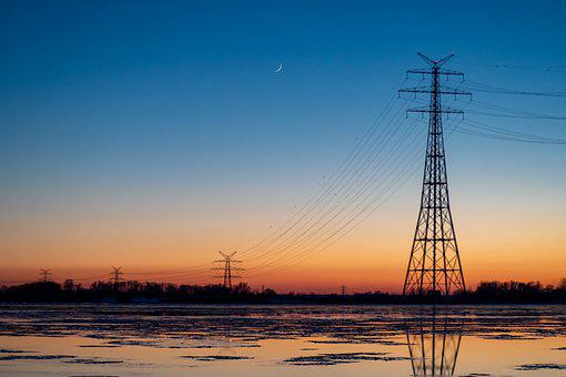 Transmission Tower, River, Sunset, Reflection, Cables
