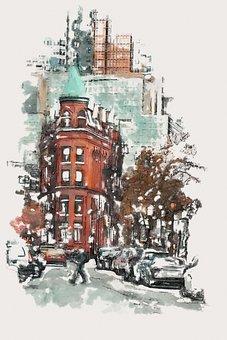 City, Buildings, Photo Art, Skyscrapers, Road, Street