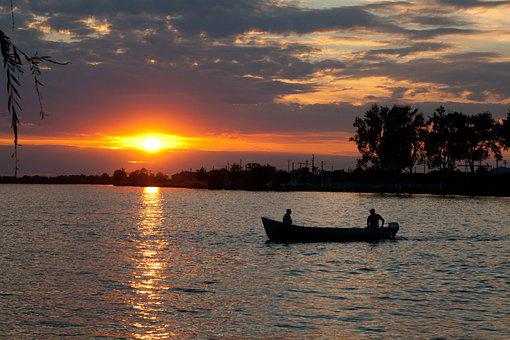 Boat, River, Sunset, Silhouette, Rowing, Water, Sun