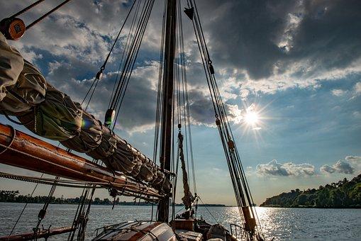 Sailing Ship, River, Sunset, Sun, Sunlight
