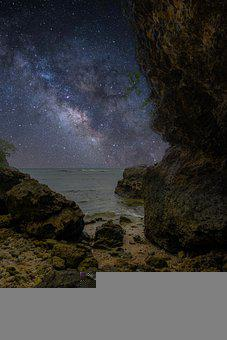 Stars, Ocean, Beach, Rocks, Night, Space, Galaxy, Sky