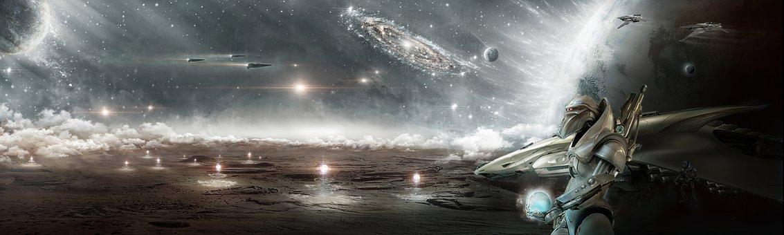 Cosmos, Banner, Alien, Spaceships, Planets, Milky Way