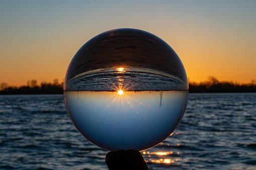 Glass Ball, River, Sunset, Lensball, Sky, Sun, Sunlight