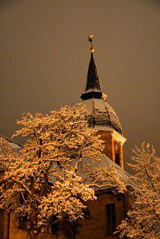 Church, Trees, Snow, Tower, Church Tower, Steeple