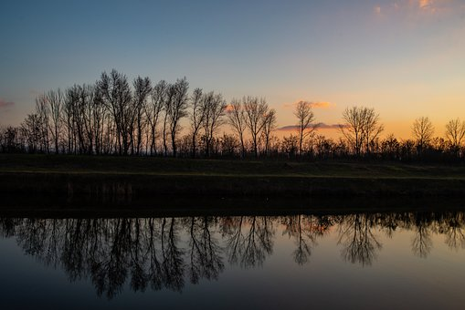 Trees, River, Sunset, Silhouette, Reflection, Mirroring