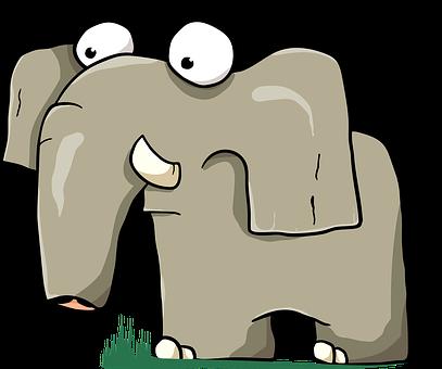 Elephant, Animal, Cartoon, Tusk, Trunk, Mammal