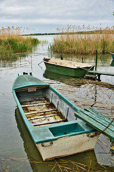 Boats, Lake, Reeds, Reedy, Water, Wooden Boats