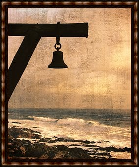 Bell, Mast, Beach, Frame, Wave, Sky, Painting, Wood