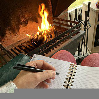 Write, Notebook, Fireplace, Letter, Writing, Pen, Hand