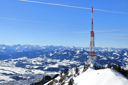 Mountain, Winter, Snow, Summit, Antenna, Radio