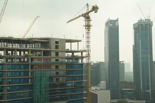 Asian Construction Site, High Rise, Crane, Architecture