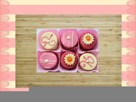 Petit Fours, Cutting Board, Background, Food, Wood