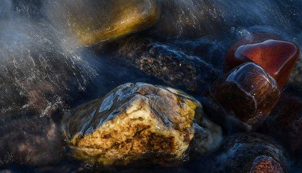 Stone, Stones, Water, Red, Yellow, Nature, Beach