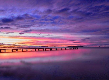 Pier, Sunset, Dock, Ocean, Sea, Water, Calm, Jetty