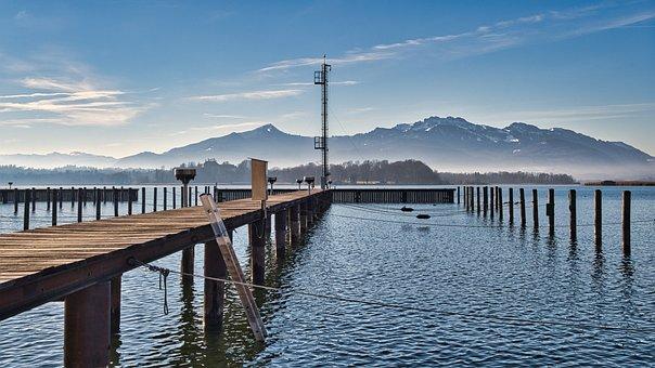 Landscape, Chiemgau, Lake, Chiemsee, Mountains