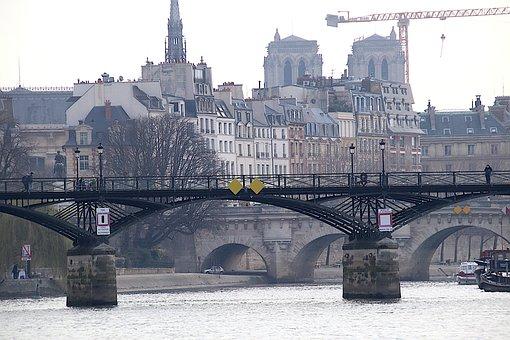 Bridge, River, Crane, Monuments, Metal, Paris, France