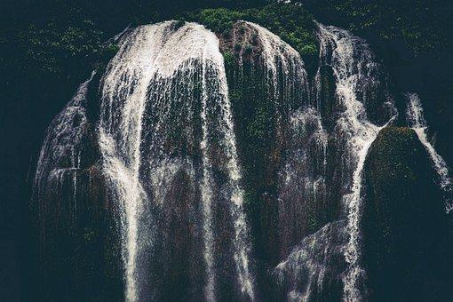 Waterfall, Dark Waterfall, Dark And Moody, Mysterious