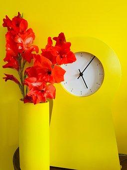Clock, Watch, Decoration, Interior, Vase, Flowers
