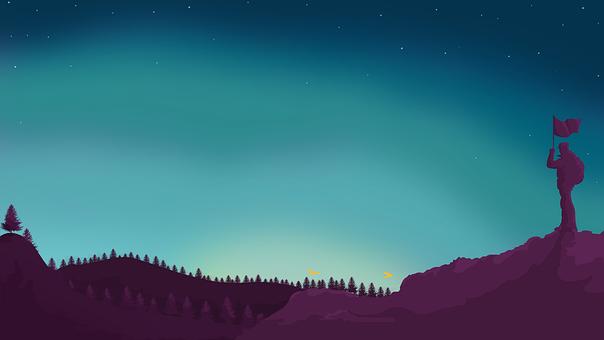 Mountain, Man, Flag, Trees, Forest, Moonlight, Sky