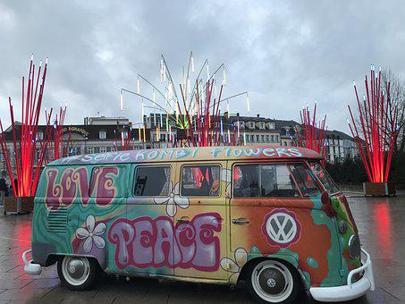 Car, Van, Volkswagen, Combi, Holiday, Retro, Hippie