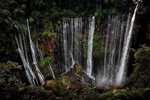 Waterfall, Cliff, Jungle, Nature, Landscape, Indonesia