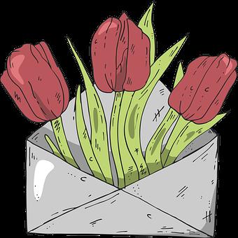 Tulip, Flower, Envelope, Love, Cartoon, Nature, Race