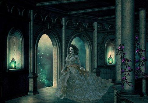 Woman, Castle, Medieval, Fantasy, Fairytale, Mysterious