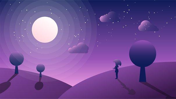 Moon, Night, Fantasy, Moonlight, Dark, Dream, Sky