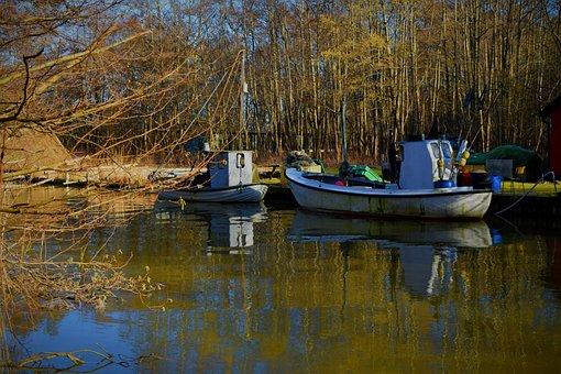 Fishing Boat, River, Nature, Denmark