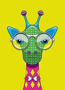 Giraffe, Animal, Zoo, Face, Neck, Nature, Drawing