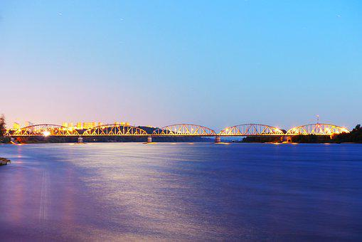 The Reflection Of The Moon, The Vistula River, Night