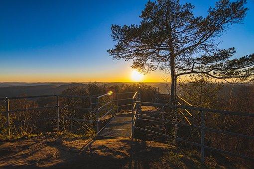 Observation Deck, Sunset, Mountains, Sun, Sky, Dusk