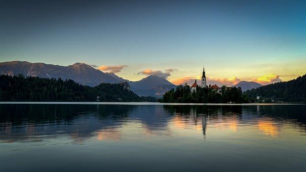 Bled, Slovenia, Sun, Rise, Church, Maria