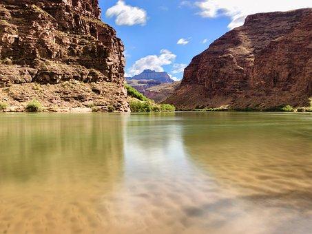 Colorado River, Sand, River, Water, Beach, Grand Canyon