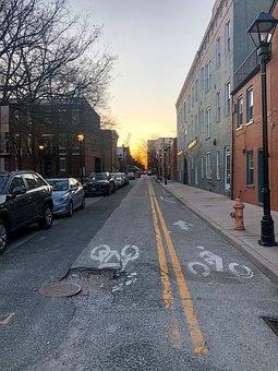 Cars On Street, Bike Lanes, Street, Road, Symbol
