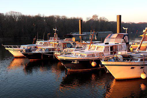 Boats, Port, River, Cruise, Sunrise, Moorings