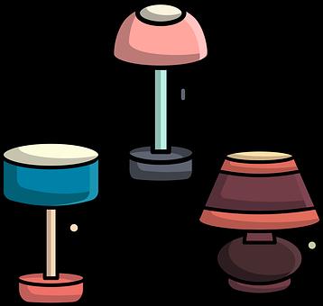 Flat Design, Lamps, Cute, Table Lamp, Reading-lamp