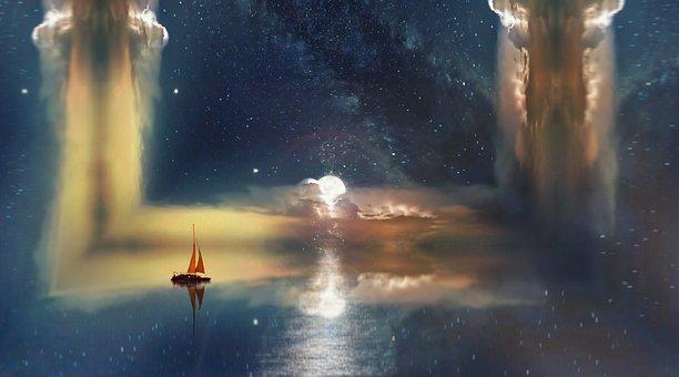 Cielo, Oceano, Barco, Sky, Ocean, Sea, Beach, Sunset