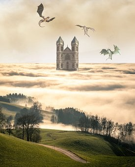 Castle, Towers, Dragons, Clouds, Reptile, Fantasy
