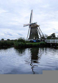 Windmills, Dutch, Old, Monuments, Lakeside