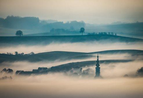 Fog, Sunrise, Hills, Fields, Haze, Mist, Foggy Morning