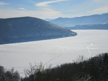Lake, Ice, Frost, Cold, Winter, Ice Cover, Edersee