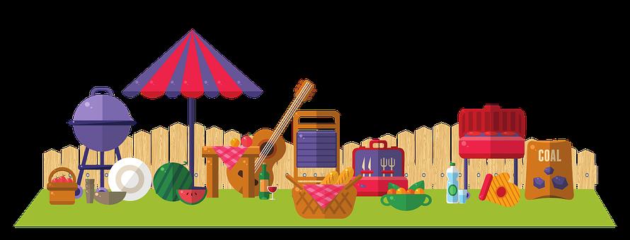 Barbeque, Umbrella, Watermelon, Picnic, Guitar, Table