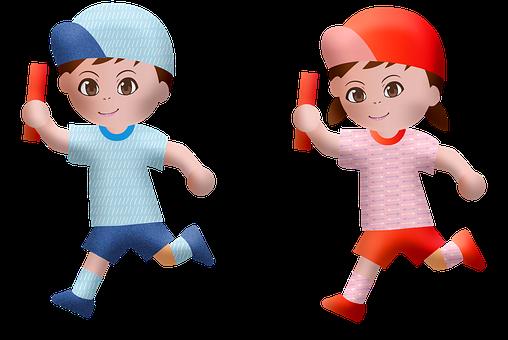Kawaii Children, Boy, Girl, Running, Manga, Anime