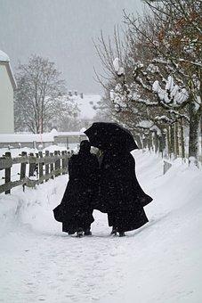 Snow, Monks, Road