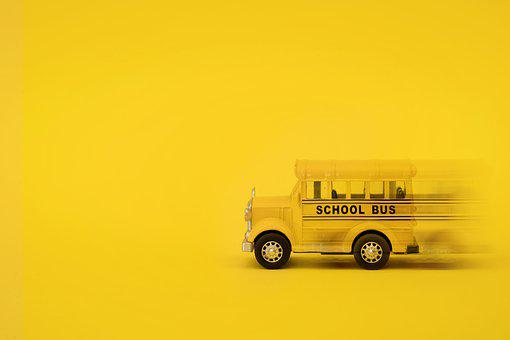 Yellow, Bus, Moving, Motion Blur, Yellow Background