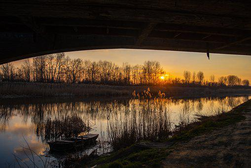 River, Water, Reflection, Trees, Mirroring, Boat, Still
