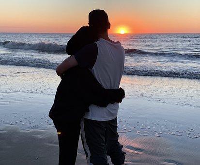 Sunset, Couple, Beach, Pair, Silhouette, Love, Romantic